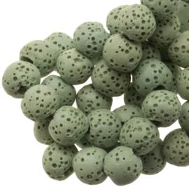 Lava steen 8mm rond mint green