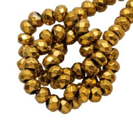 Hematite kralen facet disc 4x2mm goudbrons 10 stuks 58625