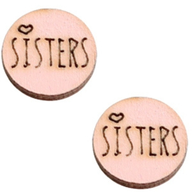 Cabochon plat 12mm hout pink sisters 42041