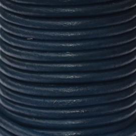 DQ Leer rond 2mm donker blauw per 20cm