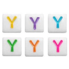 "Letterkraal ""Y"" acryl vierkant 6x6mm multicolor-wit"