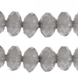 Acryl facet disc 8x6mm grijs opaal 15 stuks