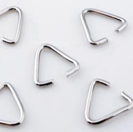 Klemmetje voor hanger 13mm 10 stuks metaal nikkelkleur