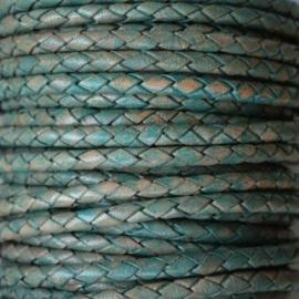 DQ Leer rond gevlochten 3mm vintage turquoise