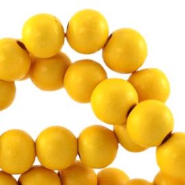 Houten kralen 8mm warm geel 9880 9 stuks