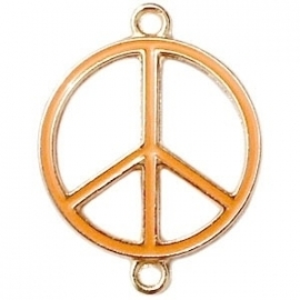 Peace tussenzetsel 29x22mm oranje-goud
