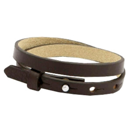 Cuoio armband dubbel 8mm leer dark sepia brown 46938