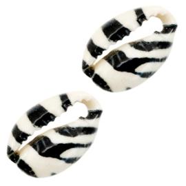 Kauri schelp kralen tiger black-white 67900