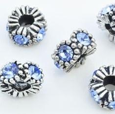 Pandora Style metalen kraal 12x8mm antiekzilver met blauw