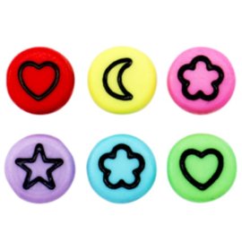 "Letterkraal ""icon mix"" acryl plat rond 7mm multicolor 5 stuks"
