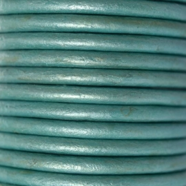 DQ Leer rond 3mm turquoise metallic per 20cm