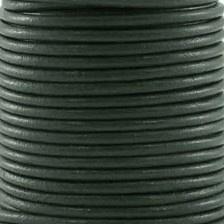 DQ Leer rond 2mm donker grijsgroen per 20cm