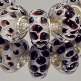 Pandora Style glaskraal 10x7mm transparant, wit met bruin