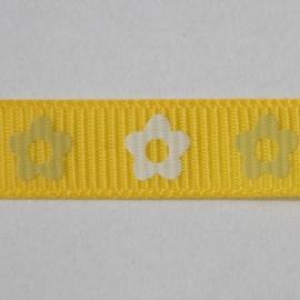 Lint met bloemen 10mm per meter geel