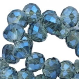 Top facet 4x3mm rondel greige blue diamond coating 10 stuks 17554