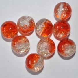 Crackle glaskraal 8mm oranje/transparant