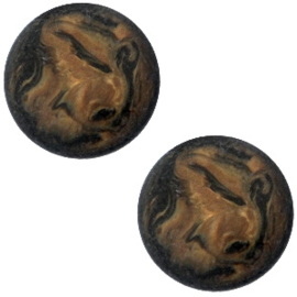 Cabochon Polaris plat 12mm parelmoer soft major brown 34742