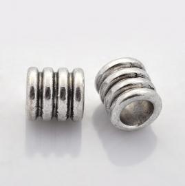 Metalen kralen buis 10x9mm antiekzilver nikkelvrij X-LF0334Y