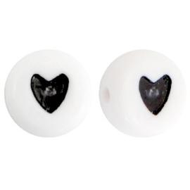"""Letterkraal """"hartje"""" acryl plat rond 7mm wit-zwart 5 stuks"""