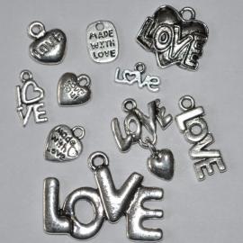 Love mix 5 stuks antiekzilver metaal