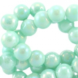 Diamond coated glaskraal 6mm pastel turquoise 19756