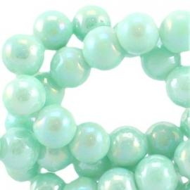 Diamond coated glaskraal 6mm pastel turquoise 19756