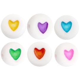 """Letterkraal """"hartje"""" acryl plat rond 7mm multicolor-wit"""