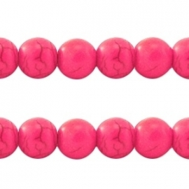 Turquoise Keramiek kralen rond 10mm hot pink