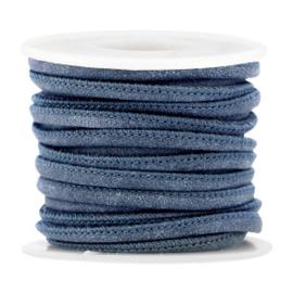 Gestikt imitatie leer 4x3mm dark blue 35662