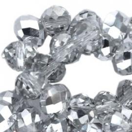 Top facet 6x4mm rondel crystal half labrador 10 stuks 17549