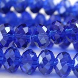 Facet 8x6mm rondel donker blauw