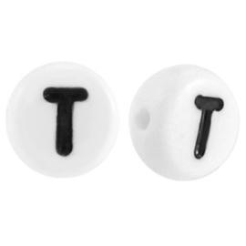"""Letterkraal """"T"""" acryl plat rond 7mm wit-zwart"""