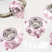 Pandora Style glaskraal 15x10mm transparant roze