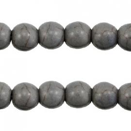 Turquoise Keramiek kralen rond 8mm donker grijs 37530
