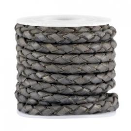 DQ Leer rond gevlochten 3mm dark grey vintage finish 32099