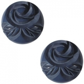 Cabochon Polaris 20mm carved rose shiny denim blue 17194