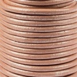 DQ Leer rond 3mm roze metallic per 20cm