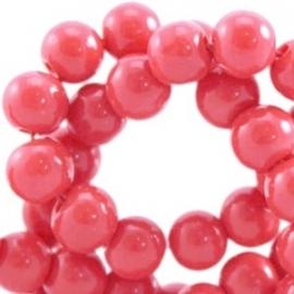 Glaskraal opaque 4mm paparacha rood 10 stuks23882