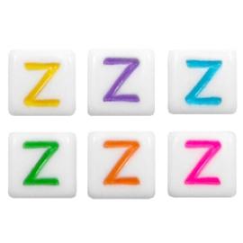"""Letterkraal """"Z"""" acryl vierkant 6x6mm multicolor-wit"""