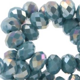 Top facet 4x3mm rondel light emerald blue zircon opaque diamond coating 21 stuks 25448
