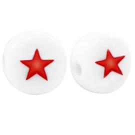 """Letterkraal """"sterretje"""" acryl plat rond 7mm wit-rood 5 stuks"""