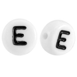 "Letterkraal ""E"" acryl plat rond 7mm wit-zwart"