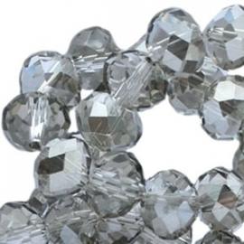 Top facet 4x3mm rondel crystal silver shade 10 stuks 17545