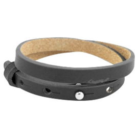 Cuoio armband dubbel 8mm leer carbon grey 38526