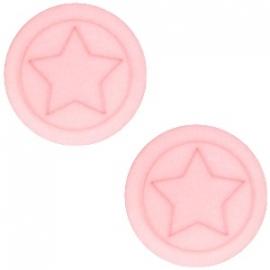 Cabochon Polaris plat 12mm ster matt pastel coral pink 30660