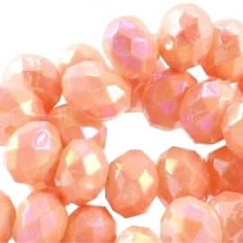 Diamond coated facetkraal 8x6mm tropical peach orange 19776