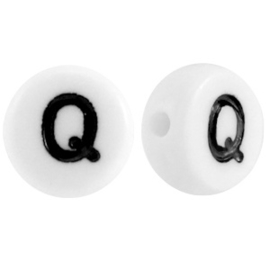 "Letterkraal ""Q"" acryl plat rond 7mm wit-zwart"