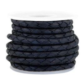 DQ Leer rond gevlochten 3mm dark blue 38430