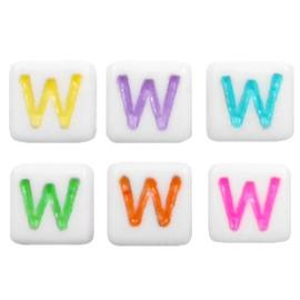 """Letterkraal """"W"""" acryl vierkant 6x6mm multicolor-wit"""