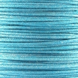 Waxkoord turquoise metallic 1mm per meter